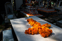 A cross made of cempasúchil flowers (marigolds) is placed at a gravesite during the Day of the Dead celebration in the cemetery of Morelia, Michoacán, Mexico, 2 November 2014. Day of the Dead ('Día de Muertos') is a syncretic religious holiday, celebrated throughout Mexico, combining the death veneration rituals of the ancient Aztec culture with the Catholic practice. Based on the belief that the souls of the departed may come back to this world on that day, people gather on the gravesites praying, drinking and playing music, to joyfully remember friends or family members who have died and to support their souls on the spiritual journey.