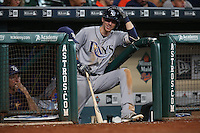 HOUSTON, TX - AUGUST 28:  Matt Duffy #5 of the Tampa Bay Rays waits on the dugout steps for his next at bat during the game against the Houston Astros at Minute Maid Park on Sunday, August 28, 2016 in Houston, Texas. Photo by Brad Mangin