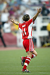 2 August 2003: Marinette Pichon celebrates after scoring her second goal of the game in the 59th minute. The Philadelphia Charge defeated the Atlanta Beat 3-0 at Villanova Stadium in Villanova, PA in a regular season WUSA game.