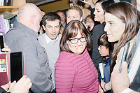 Democratic presidential candidate Pete Buttigieg arrives to speak at a campaign event at Gibson's Bookstore in Concord, New Hampshire, USA, on Sat., Apr. 6, 2019. Buttigieg is the mayor of South Bend, Indiana, and was widely considered a long-shot candidate until his appearance in a CNN town hall in March 2019 which catapulted his campaign to prominence and substantial donations. Also pictured is Buttigieg campaign Communications Adviser Lis Smith.