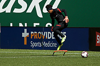 PORTLAND, OR - MAY 09: Adrianna Franch #24 of the Portland Thorns trains individually for the first time since the COVID-19 outbreak at Providence Park on May 09, 2020 in Portland, Oregon.