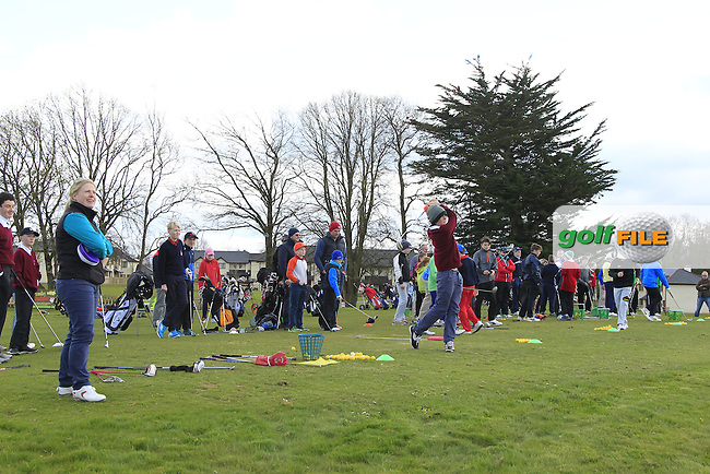 Junior golfers across Munster practicing their skills at the regional finals of the Dubai Duty Free Irish Open Skills Challenge at the Ballykisteen Golf Club, Limerick Junction, Co. Tipperary. 16/04/2016.<br /> Picture: Golffile | Thos Caffrey<br /> <br /> <br /> <br /> <br /> <br /> All photo usage must carry mandatory copyright credit (&copy; Golffile | Thos Caffrey)