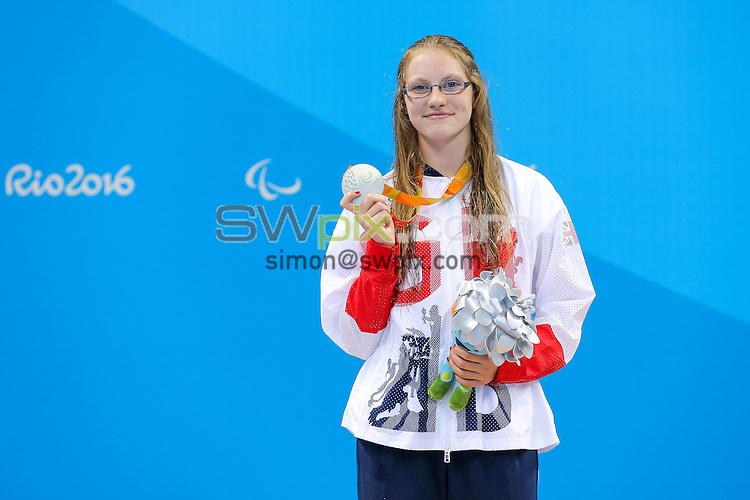 Picture by Rogan Thomson/SWpix.com - 11/09/2016 - 2016 Rio Paralympic Games - Swimming - Olympic Aquatics Centre, Rio de Janeiro, Brazil - Rebecca Redfern of Great Britain wins Silver in the Women's 100m Breaststroke SB13 Final.