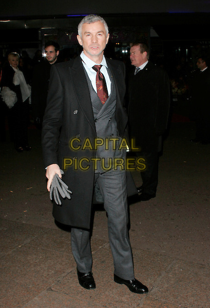 "BAZ LURHMANN .UK Premiere of ""Australia"" at the Odeon, Leicester Square, London, UK, December 10th 2008..full length red tie back coat beard facial hair stubble grey suit trousers shoes .CAP/AH.©Adam Houghton/Capital Pictures"