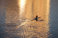 rowing early morning, Charles River, Boston, MA reflectiion