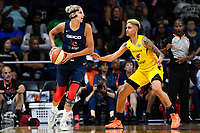 Washington, DC - Aug 8, 2019: Washington Mystics forward Elena Delle Donne (11) guarded by Indiana Fever forward Candice Dupree (4) during 1st half action of game between the Indiana Fever and the Washington Mystics at the Entertainment & Sports Arena in Washington, DC. (Photo by Phil Peters/Media Images International)