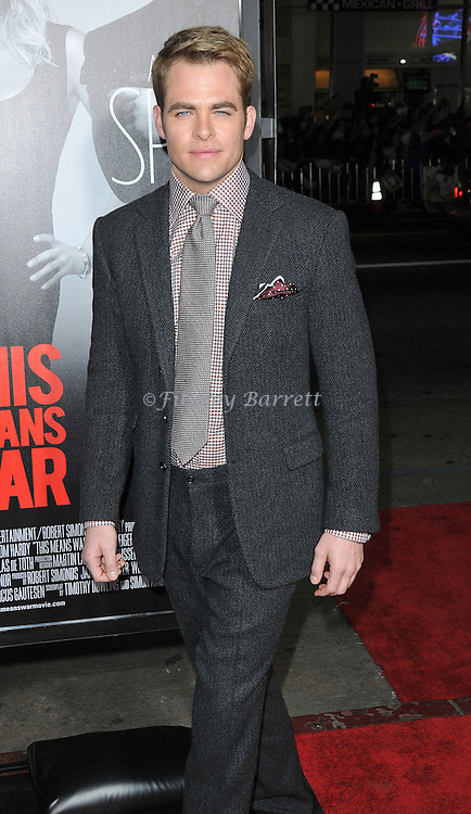 Chris Pine arriving to the premiere of This Means War, held at Grauman's Chinese Theater in  Los Angeles, CA  February 8, 2012.