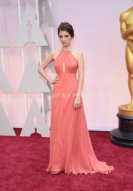 WWW.ACEPIXS.COM<br /> <br /> February 22 2015, LA<br /> <br /> Anna Kendrick arriving at the 87th Annual Academy Awards at the Hollywood &amp; Highland Center on February 22, 2015 in Hollywood, California.<br /> <br /> By Line: Z15/ACE Pictures<br /> <br /> <br /> ACE Pictures, Inc.<br /> tel: 646 769 0430<br /> Email: info@acepixs.com<br /> www.acepixs.com