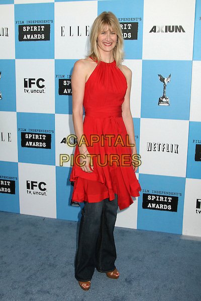LAURA DERN.2007 Film Independent's Spirit Awards at the Santa Monica Pier, Santa Monica, California, USA,.24 February 2007..full length red dress over jeans.CAP/ADM/BP.©Byron Purvis/AdMedia/Capital Pictures.