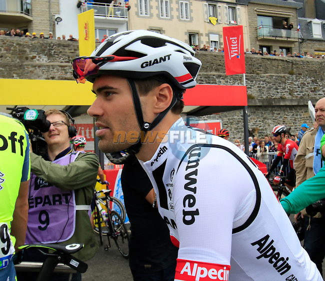 Tom Dumoulin (NED) Team Giant-Alpecin at sign on before the start of Stage 3 of the 2016 Tour de France, running 223.5km from Granville to Angers, France . 4th July 2016.<br /> Picture: Eoin Clarke | Newsfile<br /> <br /> <br /> All photos usage must carry mandatory copyright credit (&copy; Newsfile | Eoin Clarke)