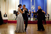 Oslo, Norway - December 10, 2009 -- United States President Barack Obama and First Lady Michelle Obama dance during the 2009 Nobel Banquet in the Hall of Mirrors at the Grand Hotel in Oslo, Norway, Thursday, December 10, 2009. .Mandatory Credit: Pete Souza - White House via CNP