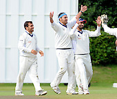 Scotland V Afghanistan, ICC Intercontinental Cup tie, Day 2, at New Cambusdoon, Ayr - man of the moment - Afghanistan bowler Hassan Hamid (centre) celebrates one of his 6 wickets, ripping though Scotland during the course of the innings - Picture by Donald MacLeod 12.08.10 - mobile 07702 319 738 - clanmacleod@btinternet.com