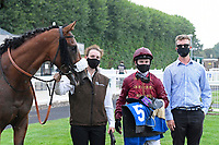 Winner of The Kevin Hall & Pat Boakes Memorial Handicap   Iron Heart ridden by Oisin Murphy and trained by Andrew Balding in the Winners enclosure during Horse Racing at Salisbury Racecourse on 13th August 2020