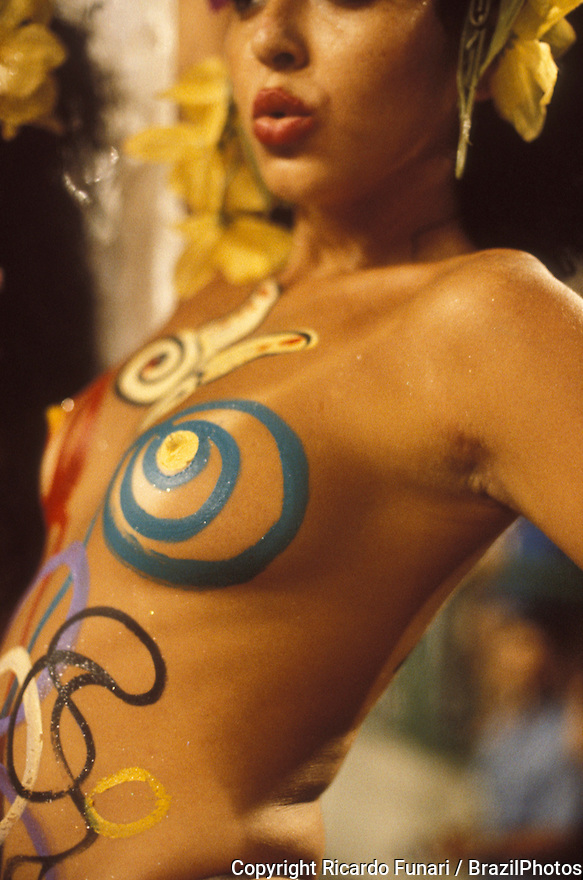 Body painting, sensuality, breasts. Woman during samba school parade, Carnival, Rio de Janeiro, Brazil