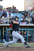 David Lyon (9) of the High Desert Mavericks bats against the Lancaster JetHawks at The Hanger on April 16, 2016 in Lancaster, California. Lancaster defeated High Desert, 3-2. (Larry Goren/Four Seam Images)