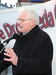 Seamus Kirk TD speaking at the march against the closure of the Cottage Hospital. Photo: Colin Bell/pressphotos.ie