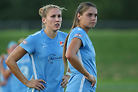 Piscataway, NJ - Saturday July 23, 2016: Kristin Grubka, Erica Skroski during a regular season National Women's Soccer League (NWSL) match between Sky Blue FC and the Washington Spirit at Yurcak Field.