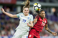 Orlando City, FL - Wednesday March 07, 2018: Mel Lawley, Alex Morgan during a 2018 SheBelieves Cup match between the women's national teams of the United States (USA) and England (ENG) at Orlando City Stadium.