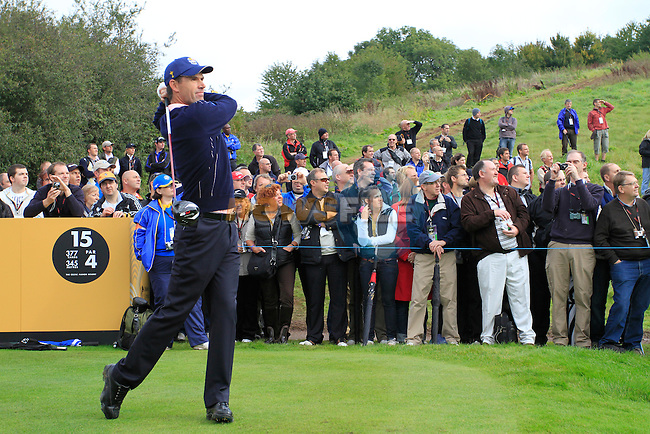 Padraig Harrington tees off on the 15th tee during Practice Day 3 of the The 2010 Ryder Cup at the Celtic Manor, Newport, Wales, 29th September 2010..(Picture Eoin Clarke/www.golffile.ie)