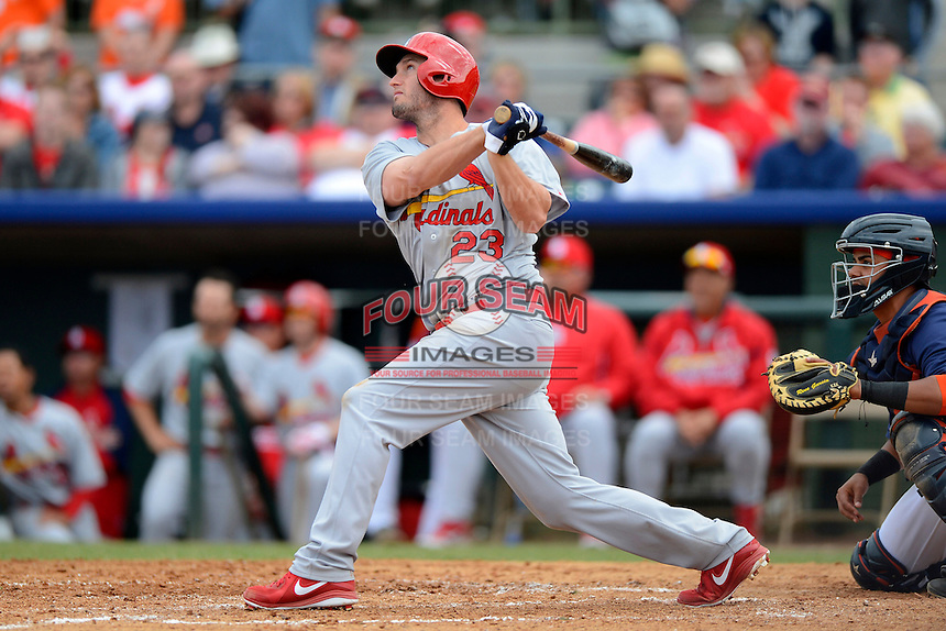 St. Louis Cardinals third baseman David Freese #23 during a Spring Training game against the Houston Astros at Osceola County Stadium on March 1, 2013 in Kissimmee, Florida.  The game ended in a tie at 8-8.  (Mike Janes/Four Seam Images)