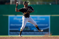 West Virginia Black Bears second baseman Melvin Jimenez (7) throws to first base during a game against the Batavia Muckdogs on July 3, 2018 at Dwyer Stadium in Batavia, New York.  Batavia defeated West Virginia 5-4.  (Mike Janes/Four Seam Images)