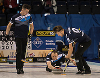 Glasgow. SCOTLAND.  Tom BREWSTER, delivering his &quot;Stone&quot; during the &quot;Round Robin&quot; Game.  Scotland vs Italy at the Le Gruy&egrave;re European Curling Championships. 2016 Venue, Braehead  Scotland<br /> Wednesday  23/11/2016<br /> <br /> [Mandatory Credit; Peter Spurrier/Intersport-images]