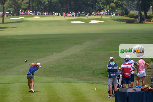 Danielle Kang (USA) watches her tee shot on 10 during round 3 of the U.S. Women's Open Championship, Shoal Creek Country Club, at Birmingham, Alabama, USA. 6/2/2018.<br /> Picture: Golffile | Ken Murray<br /> <br /> All photo usage must carry mandatory copyright credit (© Golffile | Ken Murray)