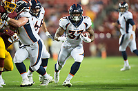 Landover, MD - August 24, 2018: Denver Broncos running back Royce Freeman (37) runs the football for a touchdown during preseason game between the Denver Broncos and Washington Redskins at FedEx Field in Landover, MD. The Broncos defeat the Redskins 29-17. (Photo by Phillip Peters/Media Images International)