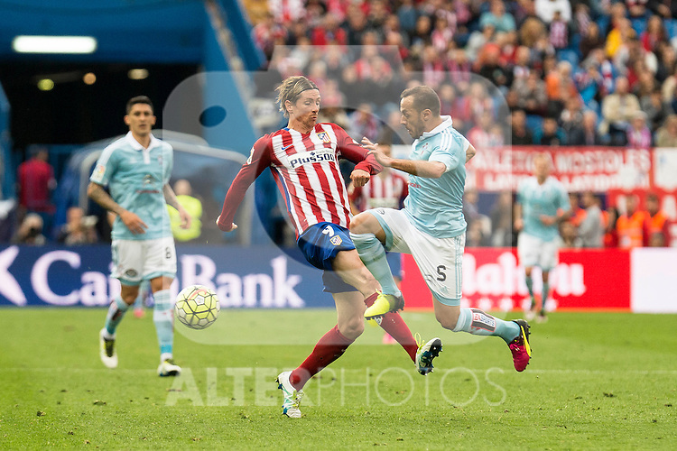 Atletico de Madrid's Fernando Torres and Celta de Vigo's Marcelo Diaz during La Liga Match at Vicente Calderon Stadium in Madrid. May 14, 2016. (ALTERPHOTOS/BorjaB.Hojas)