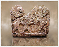 Picture of a Neo-Hittite orthostat describing the legend of Gilgamesh from Karkamis, Turkey. Museum of Anatolian Civilisations, Ankara. Mythological Scene of 2 Spinxes standing on their back legs either side of a winged horse which is also standing on its rear legs. 2
