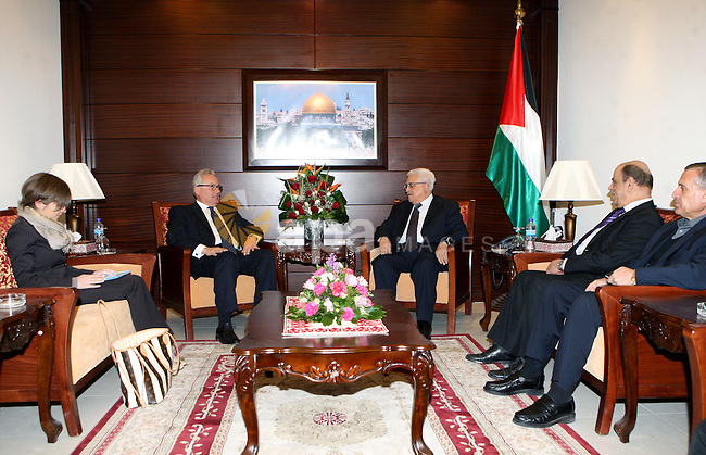 President Mahmoud Abbas (Abu Mazen) meets with the Italian consul,in the west bank of Ramallah  on Jan. 02, 2013. Photo by Thaer Ganaim