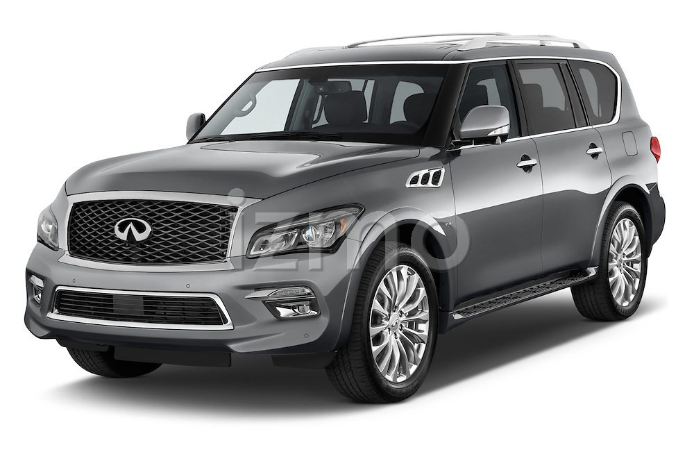 2015 Infiniti QX80 3.5 5 Door SUV Angular Front stock photos of front three quarter view