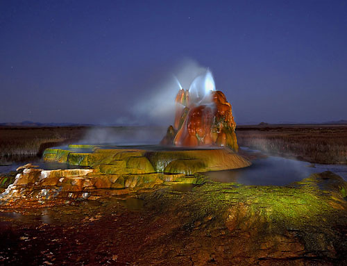 Located in the Hualapai Valley north of Gerlach, Nevada, Fly Geyser is known for it's unusual formation, vivid colors and uniqueness. This image is painted with light after sunset.