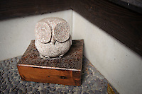 A stone owl, the emblem of Hitachino Nest Beer, Ibaragi, Japan, February 28, 2010.