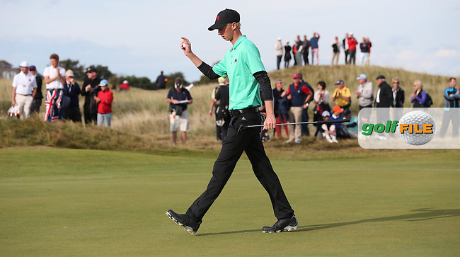 Jimmy Mullen (ENG) goes dormie 3 on the 15th during Sunday afternoon Singles matches of The Walker Cup 2015 played at Royal Lytham and St Anne's, Lytham St Anne's, Lancashire, England. 13/09/2015. Picture: Golffile | David Lloyd<br /> <br /> All photos usage must carry mandatory copyright credit (&copy; Golffile | David Lloyd)