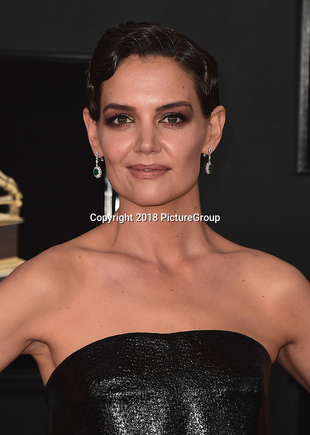 NEW YORK - JANUARY 28:  Katie Holmes at the 60th Annual Grammy Awards at Madison Square Garden on January 28, 2018 in New York City. (Photo by Scott Kirkland/PictureGroup)