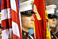 December 05, 2011:   A Marine Corp honor guard stands before the start of the game between the Jacksonville Jaguars and the San Diego Chargers played at EverBank Field in Jacksonville, Florida.  ........
