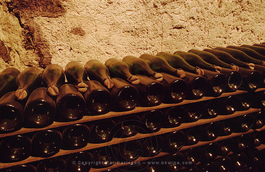 Bottles aging in the cellar. Gratien & Meyer, Saumur, Loire, France