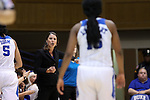 13 November 2016: Duke head coach Joanne P. McCallie (left) gives instructions to Kyra Lambert (right). The Duke University Blue Devils hosted the University of Pennsylvania Quakers at Cameron Indoor Stadium in Durham, North Carolina in a 2016-17 NCAA Division I Women's Basketball game. Duke defeated Penn 68-55.