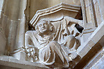 Interior of the priory church at Edington, Wiltshire, England, UK - one of the stone figures supporting niches
