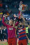 FC Barcelona's Ivan Rakitic (l) and Jordi Alba celebrate the victory in the Spanish Kings Cup Final match. May 22,2016. (ALTERPHOTOS/Acero)