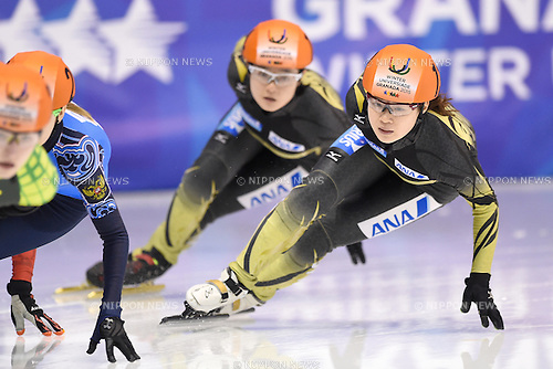 (L-R) Yuki Kikuchi, Moemi Kikuchi (JPN), <br /> FEBRUARY 11, 2015 - Short Track : <br /> 27th Winter Universiade Granada 2015 <br /> Short Track Women's 1500m B Final <br /> at Universiade Igloo, Granada, Spain. <br /> (Photo by AFLO SPORT) [1220]