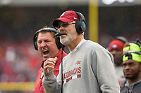 Hawgs Illustrated/BEN GOFF <br /> Bret Bielema (left), Arkansas head coach, and Paul Rhoads, Arkansas defensive coordinator, in the second quarter against Mississippi State Saturday, Nov. 18, 2017, at Reynolds Razorback Stadium in Fayetteville.