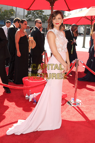 Katharine McPhee<br /> 2013 Primetime Creative Arts Emmy Awards - Arrivals held at Nokia Theatre LA Live, Los Angeles, California, USA.<br /> September 15th, 2013<br /> full length dress white lace side sleeveless skirt top <br /> CAP/ADM/BP<br /> &copy;Byron Purvis/AdMedia/Capital Pictures