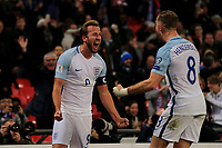 England Harry Kane celebrates with England Jordan Henderson scoring his only goal for England  during the FIFA World Cup 2018 Qualifying Group F match between England and Slovenia at Wembley Stadium on October 5th 2017 in London, England. <br /> Calcio Inghilterra - Slovenia Qualificazioni Mondiali <br /> Foto Phcimages/Panoramic/insidefoto