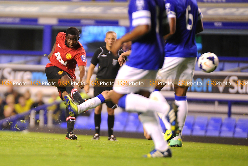 Larnell Cole of Manchester United has a shot at goal - Everton Under-21 vs Manchester United Under-21 - Barclays Under-21 Premier League Football at Goodison Park, Liverpool - 21/10/13 - MANDATORY CREDIT: Greig Bertram/TGSPHOTO - Self billing applies where appropriate - 0845 094 6026 - contact@tgsphoto.co.uk - NO UNPAID USE
