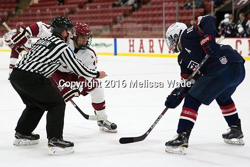 Stephen Drain, Eddie Ellis (Harvard - 7), Scott Reedy (NTDP - 10) - The Harvard University Crimson defeated the US National Team Development Program's Under-18 team 5-2 on Saturday, October 8, 2016, at the Bright-Landry Hockey Center in Boston, Massachusetts.