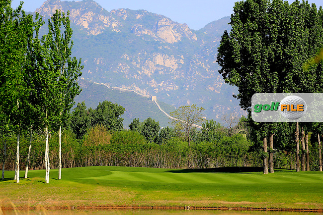 Beautiful view of the Great Wall of China from the 12th fairway during the third round of the Volvo China Open played at Topwin Golf and Country Club, Huairou, Beijing, China 27- 30 April 2017.<br /> 29/04/2017.<br /> Picture: Golffile | Phil Inglis<br /> <br /> <br /> All photo usage must carry mandatory copyright credit (&copy; Golffile | Phil Inglis)