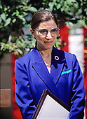 Judge Ruth Bader Ginsburg of the United States Court of Appeals for the District of Columbia, listens as US President Bill Clinton, left, makes remarks naming her to be Associate Justice of the Supreme Court in the Rose Garden of the White House in Washington, DC on June 14, 1993.  If confirmed, Judge Ginsburg will replace Associate Justice Byron R. White.<br /> Credit: Ron Sachs / CNP