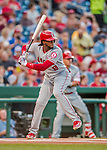 15 August 2017: Los Angeles Angels outfielder Cameron Maybin in action against the Washington Nationals at Nationals Park in Washington, DC. The Nationals defeated the Angels 3-1 in the first game of their 2-game series. Mandatory Credit: Ed Wolfstein Photo *** RAW (NEF) Image File Available ***